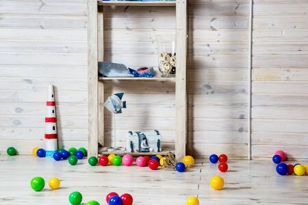 Nursery with colorful toys and balls. Nobody playing. photo