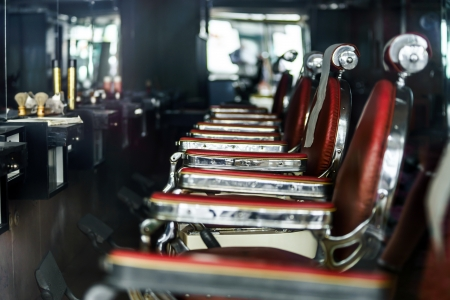 shop interior: Old-styled barber shop waiting for visitors Stock Photo