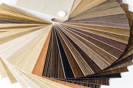 Thin wooden samples sheaf. Interior design industry. Stockfoto