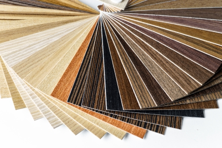 wooden furniture: Thin wooden samples sheaf. Interior design industry. Stock Photo
