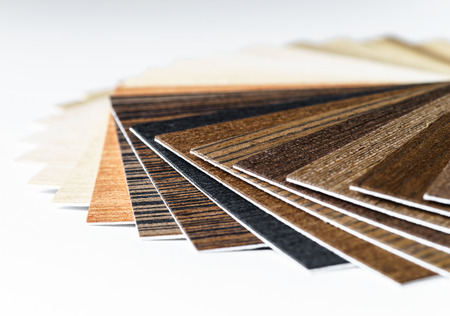 Thin wooden samples sheaf. Interior design industry. Stock Photo