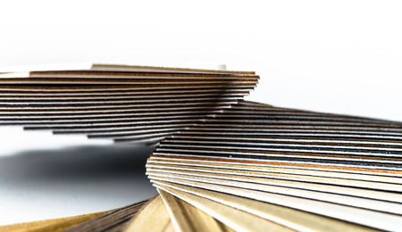 Thin wooden samples sheaf. Interior design industry. photo