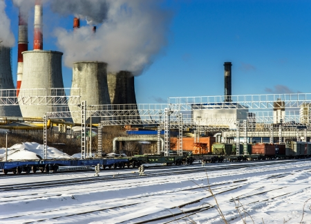Central Heating and Power Plant. Cold winter day. Stock Photo