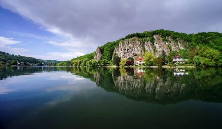 Meuse river view near Namur. Spring day.