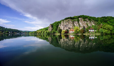 walloon: Meuse river view near Namur. Spring day.