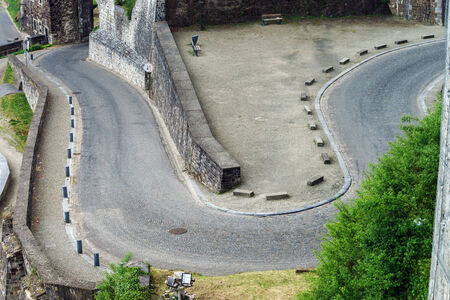 lacet: Road rounding in Namur, Belgium. View from the over.
