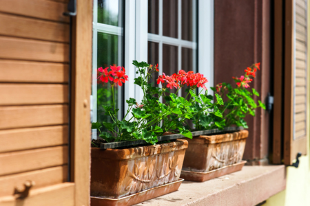 Renovated pvc windows in old village house, Alsace, France Stock Photo - 28530930