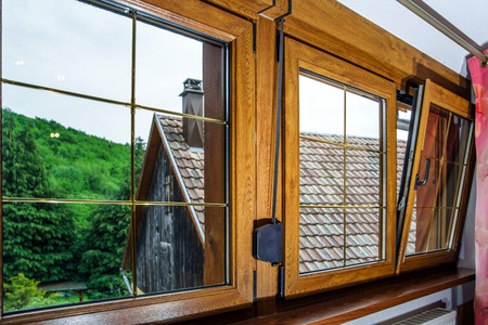 Laminated PVC windows in villagr house, inside view.