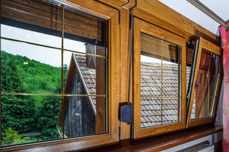 Laminated PVC windows in villagr house, inside view. photo