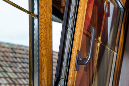 Laminated PVC windows in villagr house, inside view.