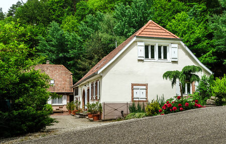 Renovated village house in small Alsace country place Editorial