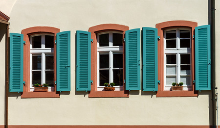 Renovated pvc windows in old village house, France Stock Photo - 28643780