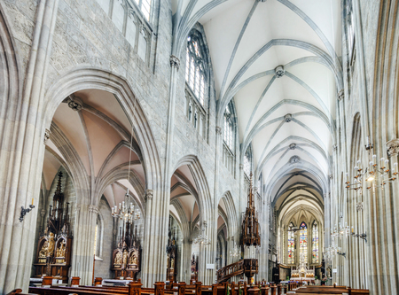 workship: Majestic gothic cathedral interior. Beautiful religious plsce of workship.