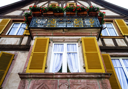 fiberglass handle: Renovated pvc windows in old countryside house, Alsace Stock Photo