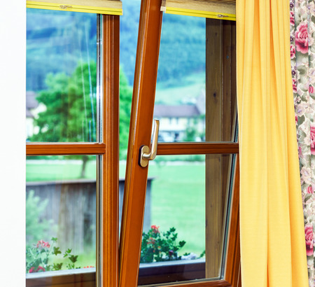 fiberglass handle: New laminated brown window inside view, interior of village house