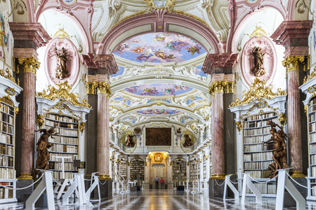 baroque room: Great biggest library in old abbey, baroque style