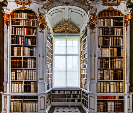 Great biggest library in old abbey, baroque style