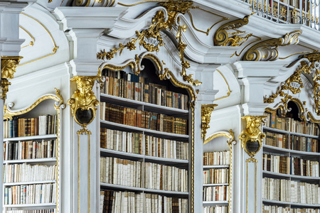 biggest: Great biggest library in old abbey, baroque style