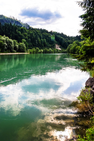 green river: Green river in alpine austrian mountains, beautiful natural landscape Stock Photo