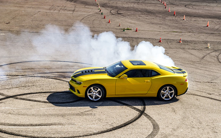 Luxury yellow sport car drifting, motion capture Standard-Bild