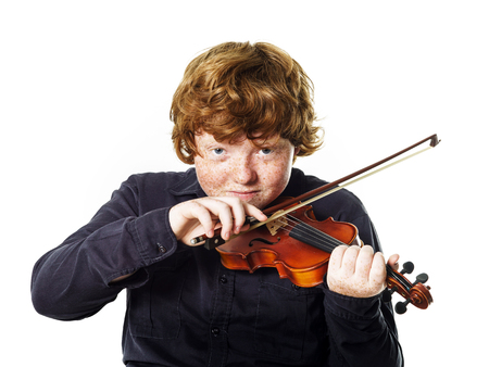 Big fat red-haired boy with small violin. Dmensions mismatch.