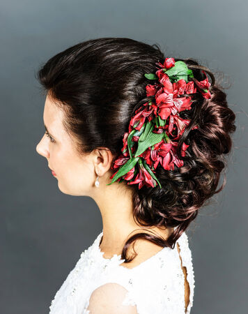 hairdress: Beautiful bride with fashion wedding hairdress isolated