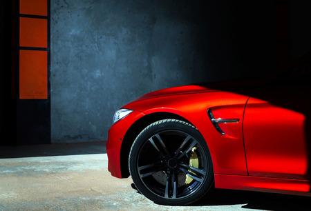 Luxury red car details view, elegant and beautiful Redactioneel