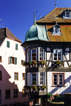 Traditional half-timbered houses, small village in Alsace, France