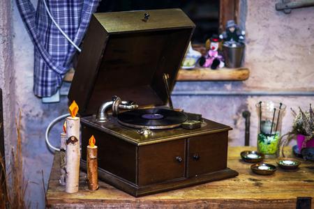 xx century: Old vintage gramophone, music audio device of XX century