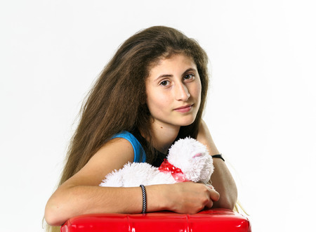 Teenage armenian girl portrait isolated on white background photo
