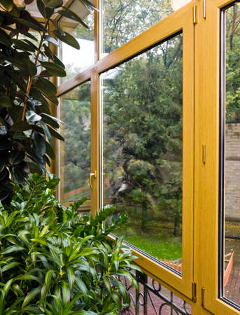 New fiberglass balcony glazing in city house, Moscow photo