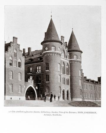 magazin: Foto vieja de la Academia de Arquitectura magazin, 1896, exploraci�n p�gina. Uso editorial.
