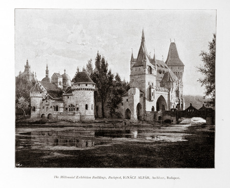 lithography: Old photo in Academy Architecture magazin, 1896, page scan. Editorial use. Editorial