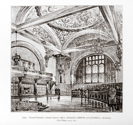 Old photo in Academy Architecture magazin, 1896, page scan. Editorial use. Editorial