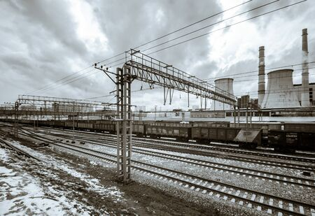 infra construction: Perspective railway view, cloudy day. Moscow, Russia