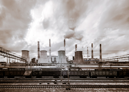 infra red: Central Heating and Power Plant. Cold spring day. Editorial