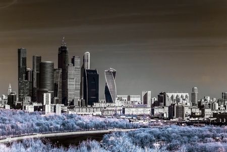 infra construction: Picturesque view of the Moscow City in infrared, Moscow, Russia
