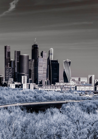 infra red: Picturesque view of the Moscow City in infrared, Moscow, Russia