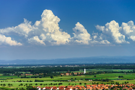 vue d ensemble: Bird-fly overview to small village in Alsace, France. Summer day.