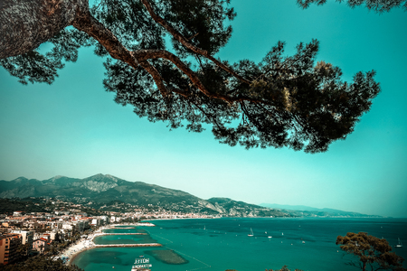 cote d'azur: Summer time in Menton, France, Cote dAzur, travel and beach resort concept