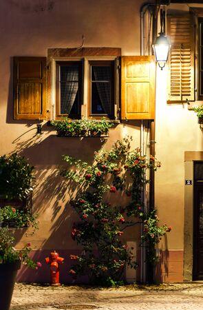 Old alsacien village street view, France, summer Standard-Bild