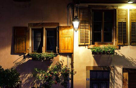 tranquillity: Old alsacien village street view, France, summer Editorial