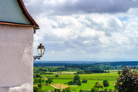 tranquillity: Old alsacien village street view, France, summer Stock Photo
