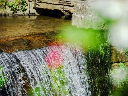 andlau: Waterfall on the small river close-up, France, Alsace, Andlau Stock Photo