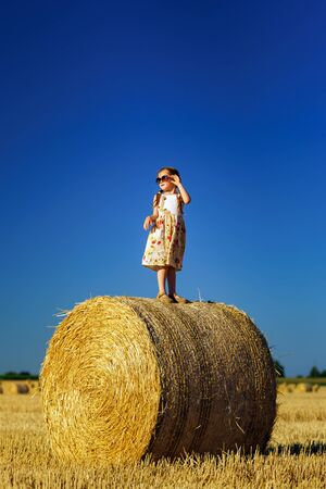 hayrick: Cute little girl with sunglasses posing on the haystack, freedom concept