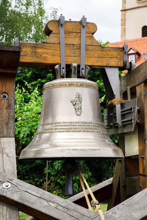 smelter: New bell for the old church, France Stock Photo