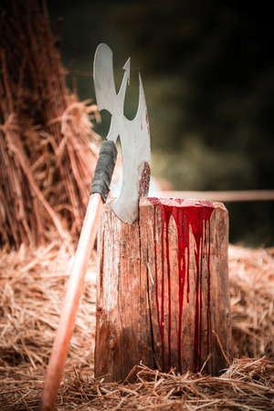 despatch: Axe and scaffold on medieval festival, Alsace, France