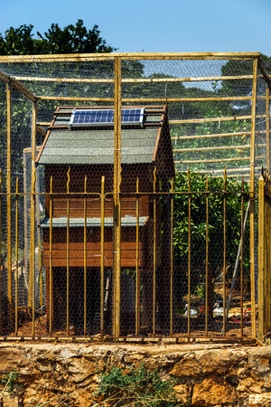 solarcell: Solar-cell on the roof of chicken house, energy saving, France