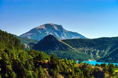 cerulean: Azure water of Lac De La Castillon, Alps, France
