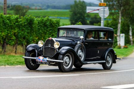 mille: Editorial,12 September 2015: France: XXXIIeme Festival Enthousiastes Bugatti in Molsheim. Vintage car.